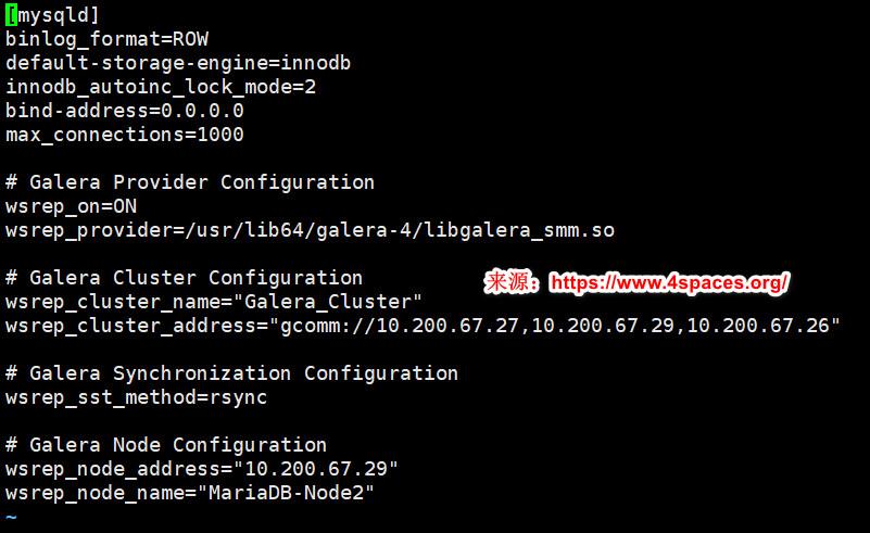 MariaDB-Node2(10.200.67.29)节点配置